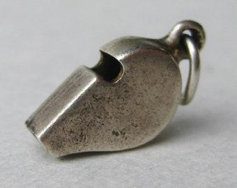 Vintage 50s Sterling Silver Miniature Whistle Bracelet Charm