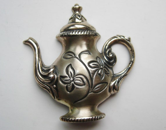 Vintage 50s Sterling Silver Little Teapot Novelty… - image 1