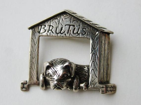 Vintage Sterling Silver Brutus Dog House Novelty … - image 1
