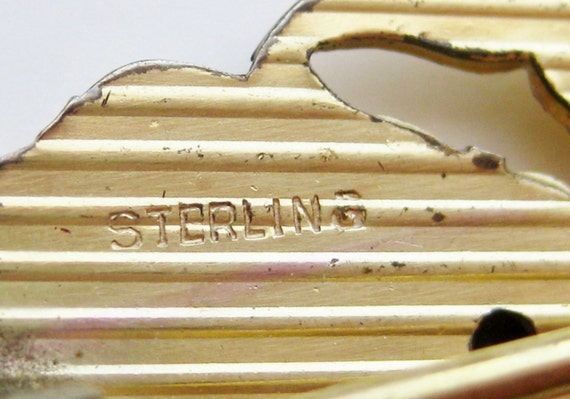 Vintage 40s Gold Vermeil Sterling Silver Pansy Fl… - image 5