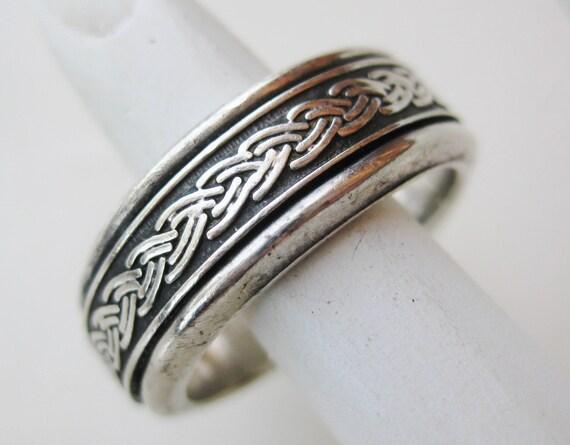 Vintage Celtic Knot Fine Sterling Silver Mens Band Spinner Ring size 9