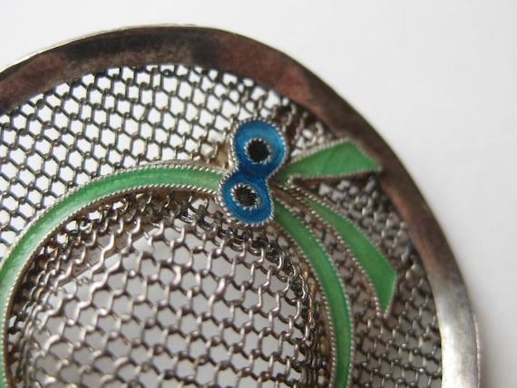 Vintage Sterling Silver Enamel Novelty Sun Hat Fi… - image 3