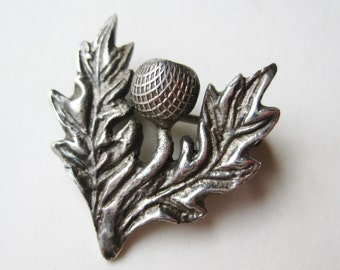 Vintage Antique Scottish Thistle Sterling Silver Brooch Pin