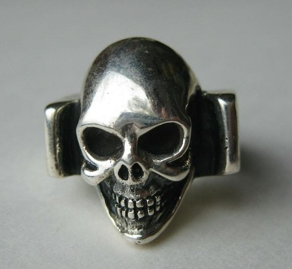 Vintage Sterling Silver Biker Death Skull Skeleton