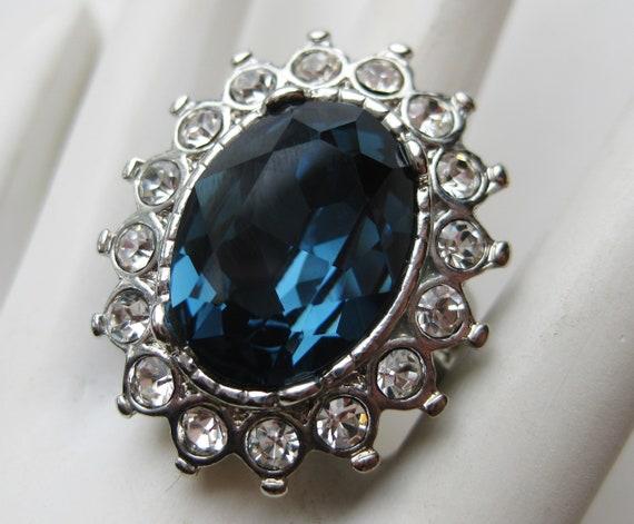 Vintage Kenneth Jay Lane KJL Blue Rhinestone Princ