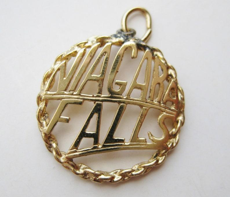 Vintage 50s Charm Sterling Silver Gold Vermeil Niagara Falls Souvenir Bracelet Charm