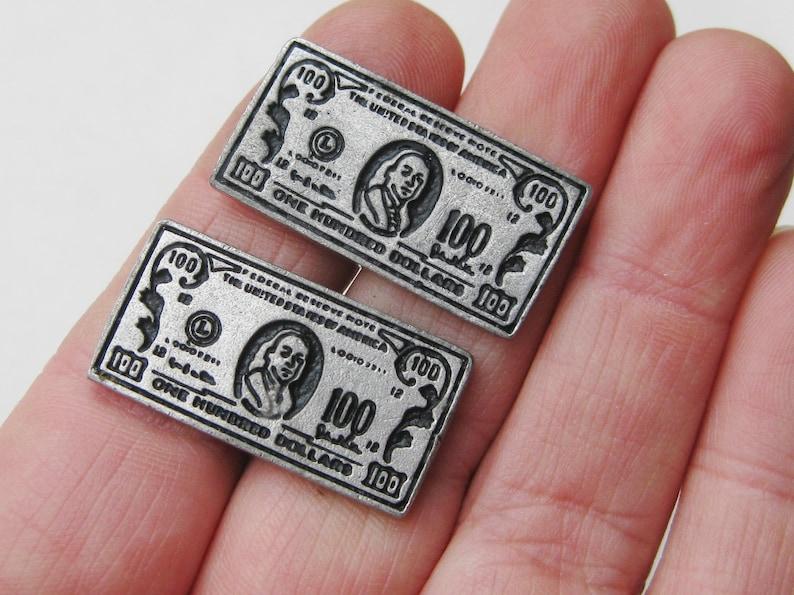Vintage 50s Novelty Silver Hundred Dollar Bills Cuff Links Cufflinks