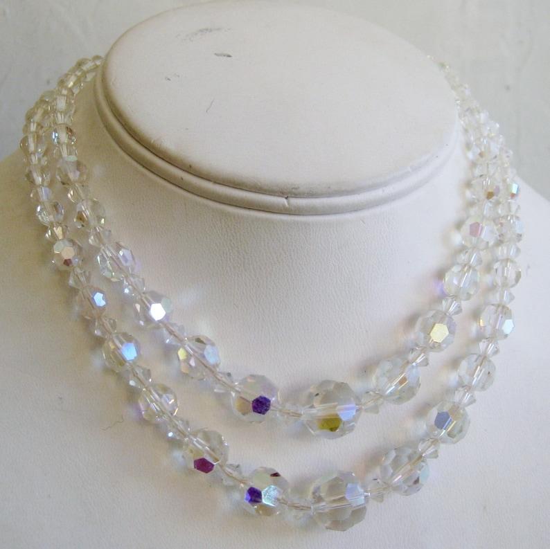 Vintage 50s 60s Sparkling Aurora Borealis Glass Bead Double Strand Mad Men Choker Necklace