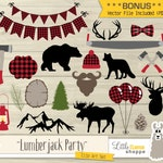 Lumberjack Party Clip Art, Vector Lumberjack Plaid Clipart, Woodland Clipart, Red Flannel Clipart, Lumberjack Birthday, Commercial Use