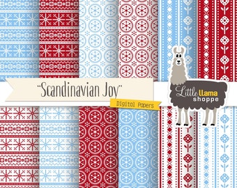 Scandinavian Digital Papers, Christmas Sweater Pattern, Nordic Digital Backgrounds, Scandinavian Patterns, Commercial Use