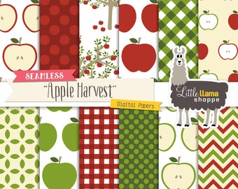 Apple Digital Paper, Autumn Digital Papers, Apple Trees Background, Apple Scrapbook Paper Pack, Commercial Use Fall Digital Papers