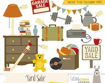 Yard Sale Clipart, Vector Garage Sale Clip Art, Rummage Sale Clip Art, Tag Sale, Flea Market, Boot Sale, Moving Sale, Jumble Sale