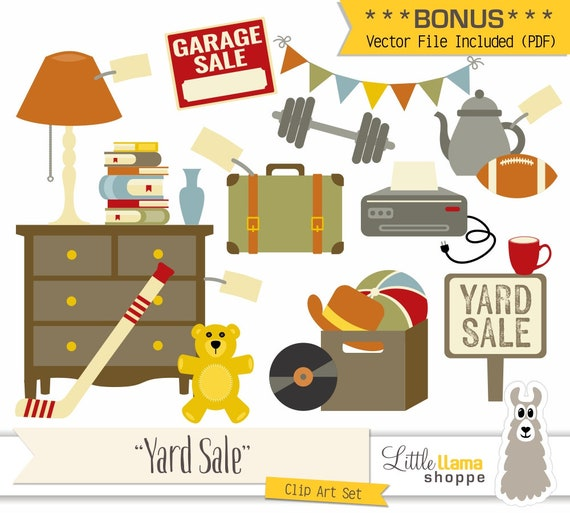 Yard Sale Clipart, Vector Garage Sale Clip Art, Rummage Sale Clip Art, Tag  Sale, Flea Market, Boot Sale, Moving Sale, Jumble Sale