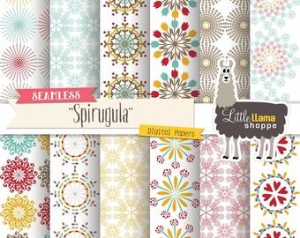 Seamless Digital Backgrounds, Spiral Digital Paper, Seamless Patterns, Spiral Scrapbook Paper, Floral Paper, Commercial Use