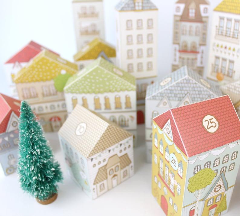 Advent Calendar Printable Christmas Village Boxes PDF image 2
