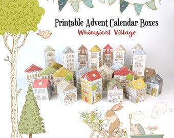 Advent Calendar, Printable Christmas Village Boxes PDF, Countdown to Christmas