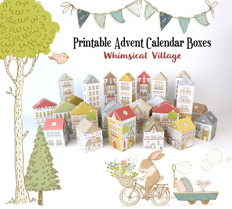 image relating to Printable Christmas Countdown Calendar identify Arrival Calendar, Printable Xmas Village Packing containers PDF, Countdown in the direction of Xmas