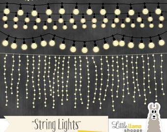 String Lights Clipart, Fairy Lights Clip Art, Wedding Invitation String Lights, White Lights, Commercial Use, Rope Lighting
