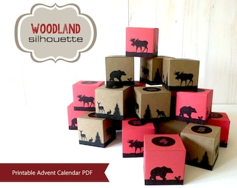 Printable Advent Calendar, Countdown to Christmas, Woodland Lumberjack Style,