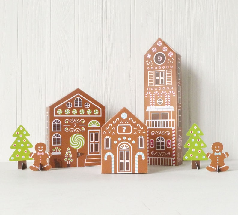 Printable Advent Calendar Gingerbread Houses DIY Paper image 6