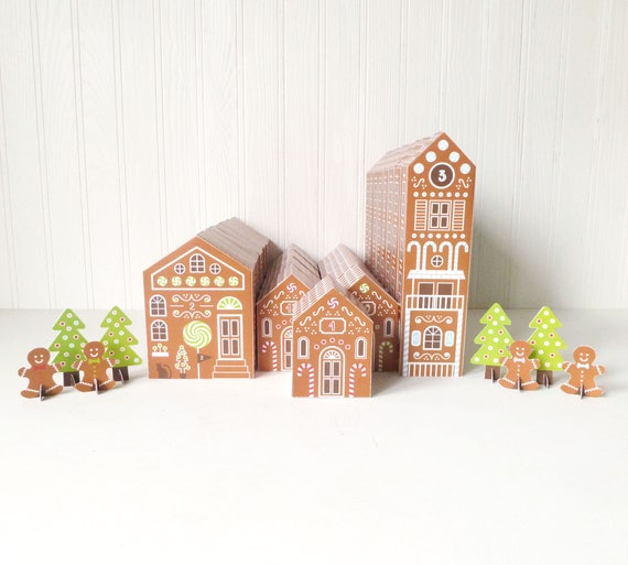 Printable Advent Calendar Gingerbread Houses Diy Paper Etsy
