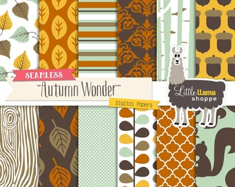 Autumn Digital Paper, Seamless Fall Woodland Digital Paper, Fall Scrapbook Paper, Autumn Digital Backgrounds, Commercial Use
