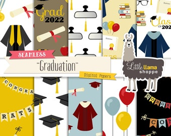 Graduation Digital Papers, Grad Surface Patterns, Seamless, Commercial Use, Instant Download, Class of 2022