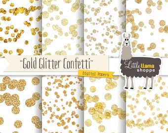Gold Confetti Glitter Digital Papers, Gold Confetti Backgrounds, Glitter Digital Papers, Gold Glitter, Commercial Use