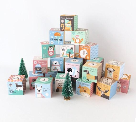 Advent Calendar For Kids Funny Animal Memes Christmas Themed Animal Puns Printable Boxes