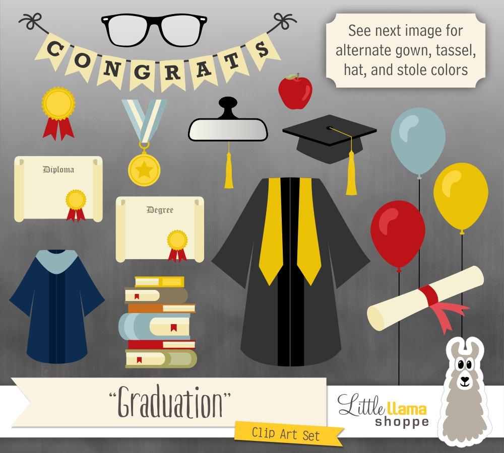 Graduation Clipart, Grad Clip Art, Graduation Gown, Graduation Cap ...