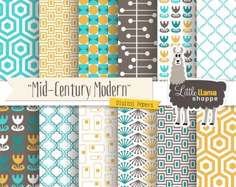 Mid Century Modern Digital Scrapbook Paper, Geometric Patterns, Turquoise Yellow Brown, 8.5x11 and 12x12, Commerical Use