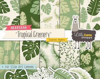 Tropical Leaves Seamless Patterns, Foliage Digital Backgrounds, Greenery Scrapbook Paper, Leaves Clip Art, Monstera Leaf, Commercial Use