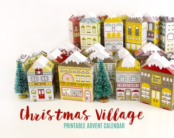 Advent Calendar Printable Christmas Village Houses | Victorian Village Countdown to Christmas | Print and Make PDF Digital Download