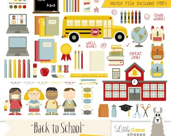 Back to School Clip Art | School Clipart Bundle Including Children, Bus, Laptop, Virtual Classroom, Distance Learning | Small Business Use