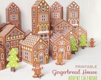 Printable Advent Calendar, Gingerbread House Advent Calendar Boxes, DIY Countdown to Christmas, Ginger Bread Village