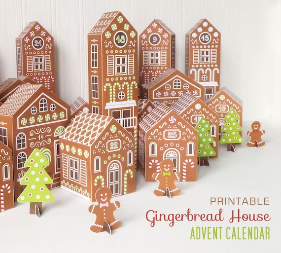 Christmas Gingerbread House Printables.Printable Advent Calendar Gingerbread Houses Diy Paper Christmas Village