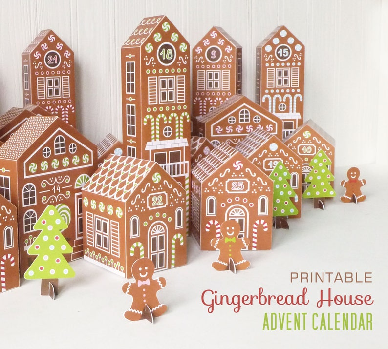Printable Advent Calendar Gingerbread Houses DIY Paper