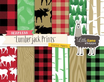 Lumberjack Digital Pattern Paper, Buffalo Plaid Digital Paper, Red and Black Flannel Plaid Pattern, Seamless Forest Paper, Commercial Use