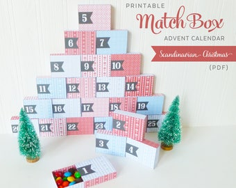 Easy Advent Calendar Adult, Printable Countdown to Christmas, Scandi Design, Nordic Pattern, Calendrier de l'Avent
