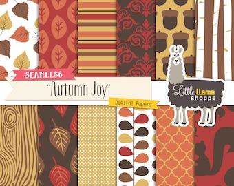 Autumn Digital Paper Pack, Woodland Digital Paper, Fall Colors Scrapbook Paper, Autumn Digital Backgrounds, Commercial Use