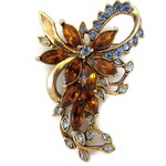 Vintage Rhinestone Flower Brooch, Signed KC, Kenneth Cole, Blue and Amber Crystals, Wedding Bridal