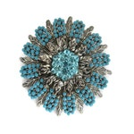 blue round rhinestone flower brooch, turquoise blue, beaded cabochons, vintage, wedding bouquet, southwestern