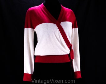 ef6cb13cb1 Size 8 Sonia Rykiel Sweater - Fuschia Pink & Ivory Angora Knit Top - 80s  90s Long Sleeved Pullover with Wrap Style - Designer 1980s - 50124