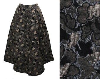 6e4be64327 Size 10 Long Brocade Skirt - 60s Black   Brown Floral Ankle Length Maxi  Skirt - Fall Autumn Heavy Fabric Flared Full 1960s Design - Waist 29