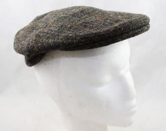 Men s Harris Tweed Newsboy Cap - British 1960s Street Style Gent s Hat -  Gray Brown Green Wool - 50s 60s Rutland County Cap - 7 1 4 - 47964 eda0e2b3779a
