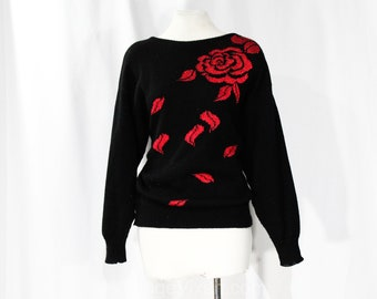 Red Rose Sweater Etsy