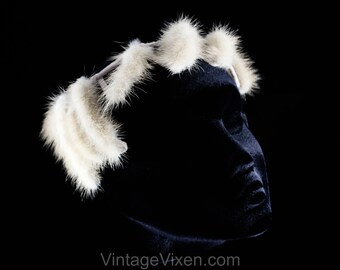 5d209d8cc54b2 1960s Cage Style Hat - Gray Mink Fur 60s Millinery - Asymmetric Avant Garde  Halo Style Headpiece - Jagged Grey Real Fur - 60 s Glamour Girl
