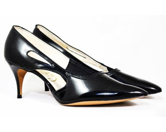 Size 10 1950s Black Stilettos - Authentic 50s Glossy Faux Patent Leather  Shoes - Sexy 3 Inch High Heels - Unworn 50 s Deadstock - 10B