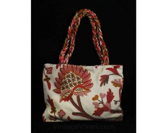 6d8e50015258 Hippie Chic 1970s Purse - Crewelwork Cotton Canvas Tote with Braided Straps  - 70s Summer Boho Handbag - Red Pink Sienna Crewel Bag - 49175