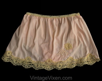 0558304c70c Size 10 Mini Half Slip with Attached Panty - Sweet Flirty 1960s Lingerie -  Pastel 60s Nylon Tricot Skirted Style Peek A Boo - Waist 26 to 29